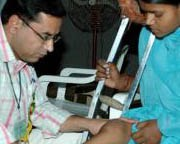 with polio