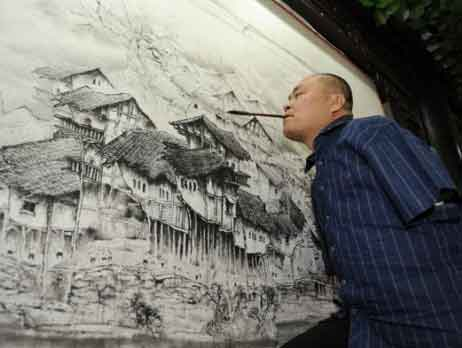Armless Painter Huang Guofu Painting with Mouth