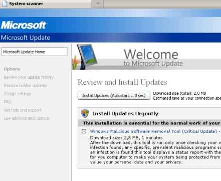 Microsoft Windows Fake Update
